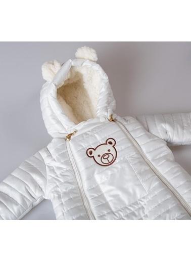 POKY Yeni Sezon Kız Bebek Çocuk Ayıcık Armalı Çift Fermuarlı Kozmonot Tulum-103144 Beyaz